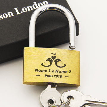 Personalised Engraved Padlock Love Lock Wedding Gift - Love Birds - EDSG