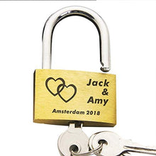 Load image into Gallery viewer, Personalised Engraved Lock Love Heart
