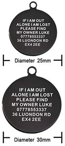 Personalised Engraved Cat Dog Tag Stainless Steel