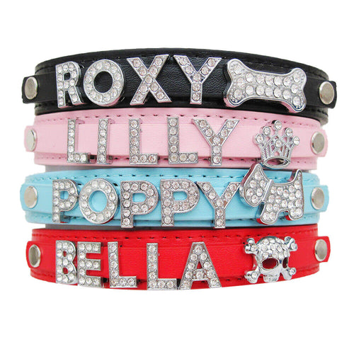 Personalised Diamante PU Leather Dog Cat Collar UK - EDSG