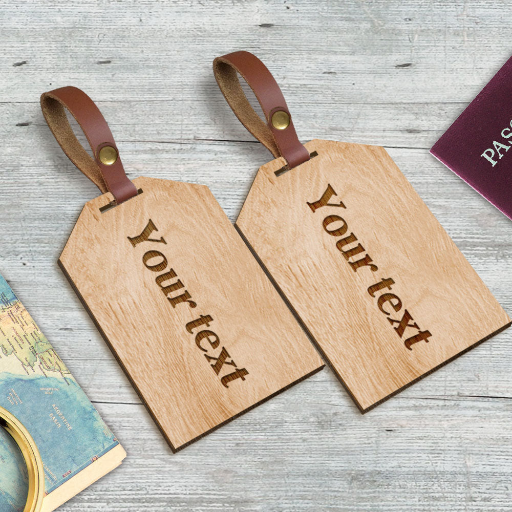 Personalised Laser Engraved Wooden Luggage Tags - EDSG