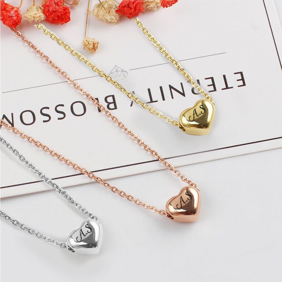 Personalised Engraved Heart Necklace Gift For Her / Women / Girls - EDSG