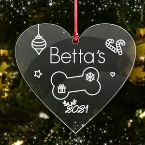 Personalised Christmas Tree Bauble Cat Dog Pets Name Decoration Xmas Ornament - EDSG