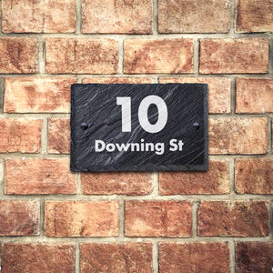 Personalised House Sign Slate Door Number Plaques UV Print - EDSG