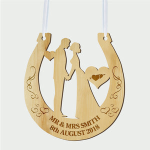 Personalised Wedding Horseshoe Wooden Plaque - EDSG