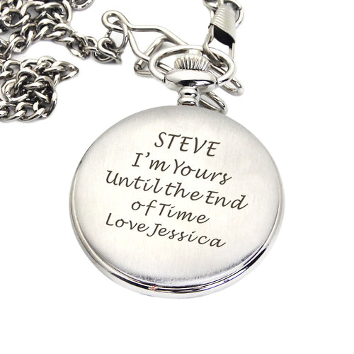 Personalised Engraved Pocket Watch Silver/Black - EDSG