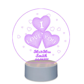 Personalised Gift For Couple  Lighted Cake Toppers Love Heart - EDSG