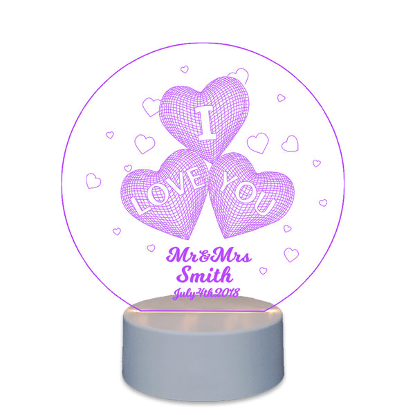 Personalised Night Lamp Gift For Couple Love Heart - EDSG