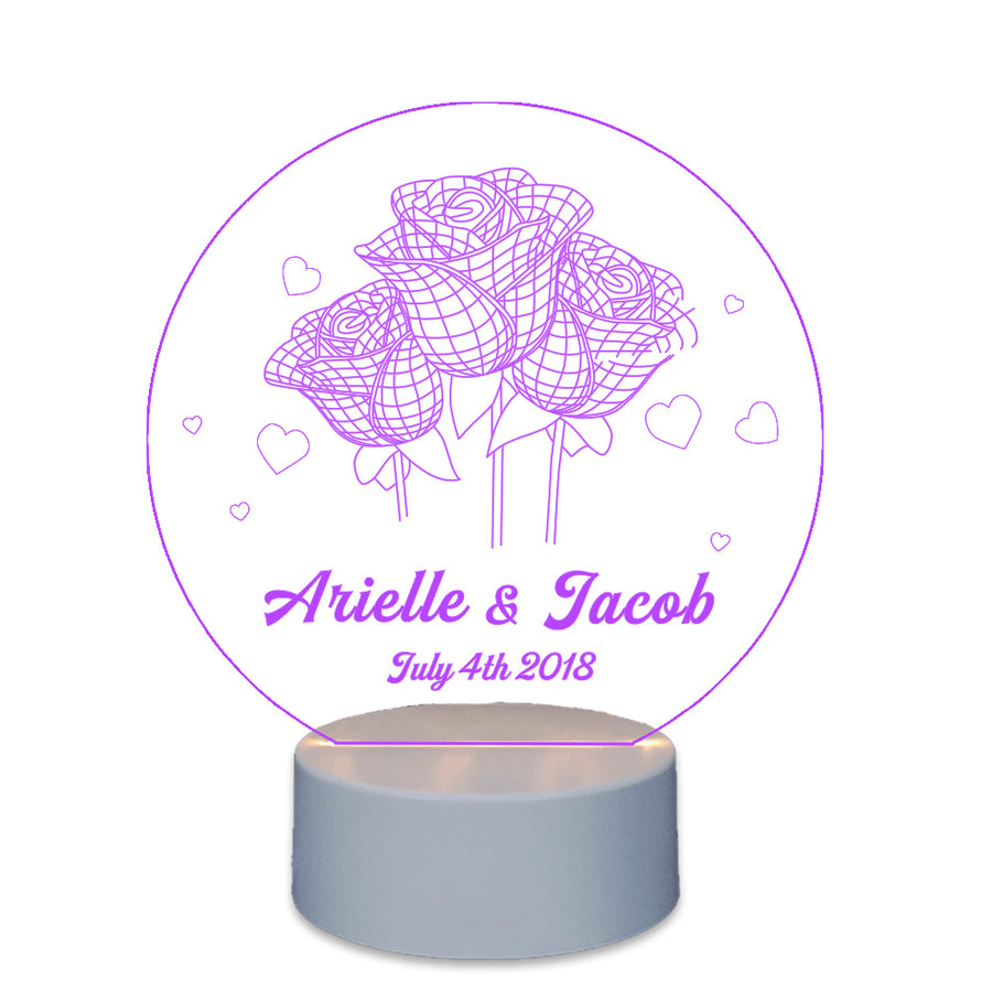 Personalised Gift For Couple  Lighted Cake Toppers Love Rose - EDSG