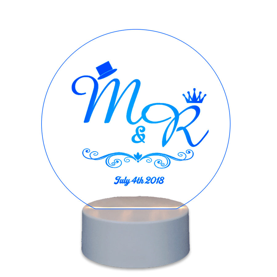 Personalised Wedding Gift  Lighted Cake Toppers Mr & Mrs - EDSG