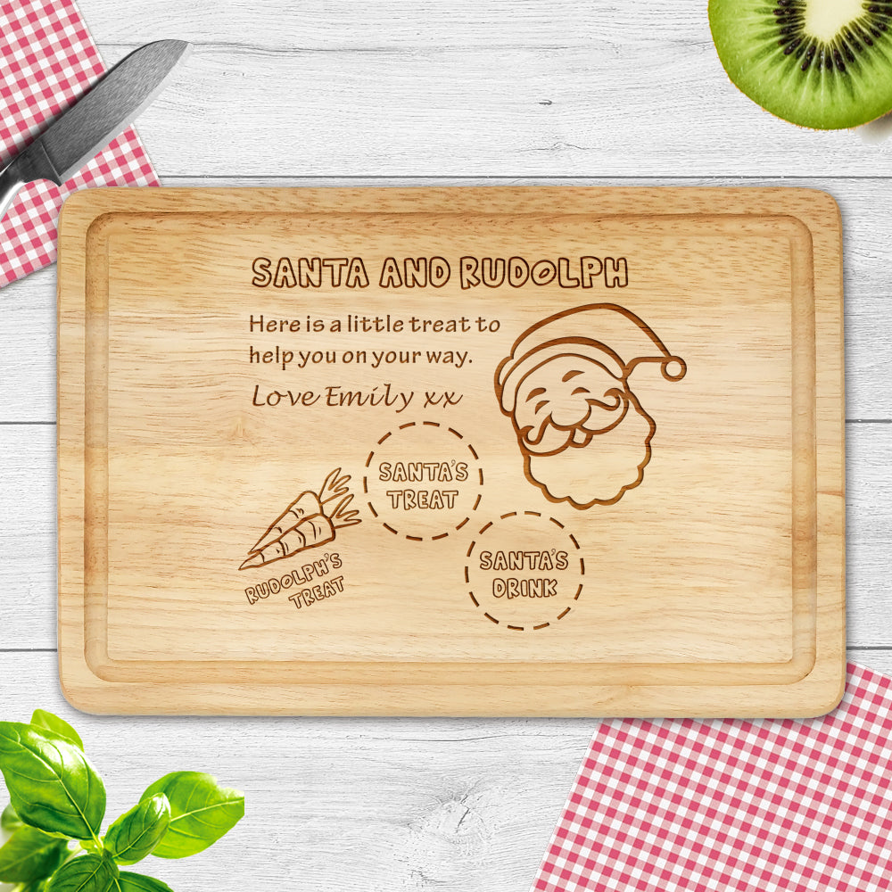 Personalised Wooden Chopping Board Laser Engrave Santa Gift for Merry Christmas - EDSG
