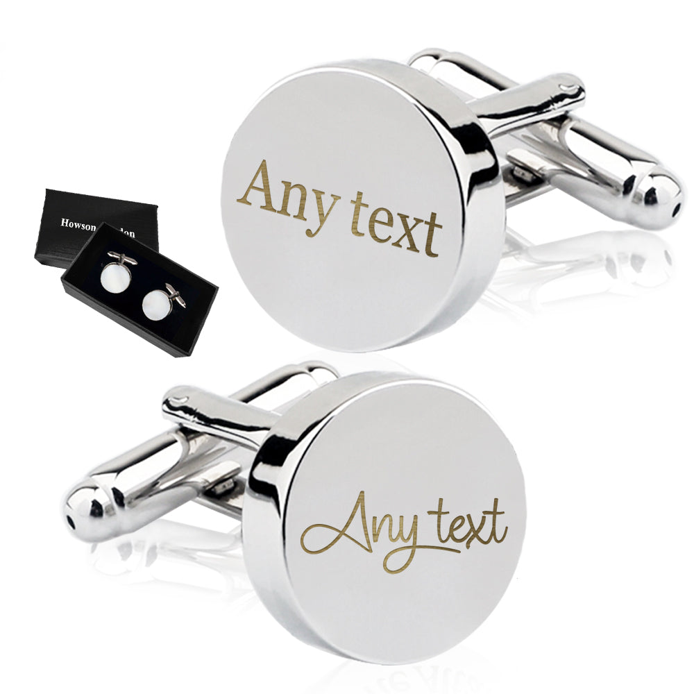 Personalised Engraved Cufflinks Any Text - EDSG