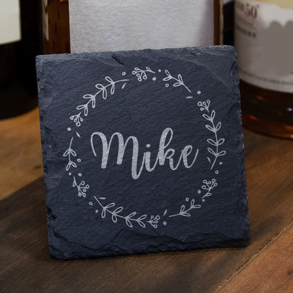 Personalised Engraved Square Slate Coasters Any name - EDSG
