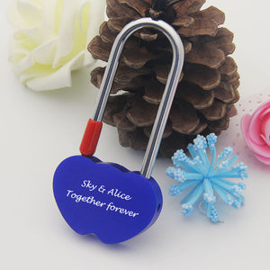 Personalised Engraved Padlock Double Heart Shape Lock  4 Colors