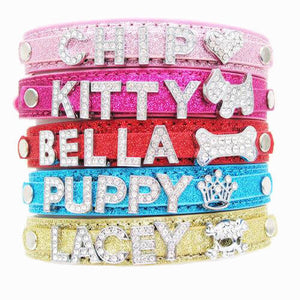Personalised Bling Dog Cat Collars with Name UK - EDSG