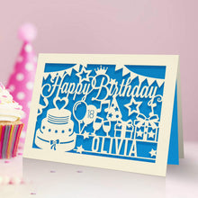 Load image into Gallery viewer, Personalised Birthday Card Laser Paper Cut Greeting Cards - EDSG