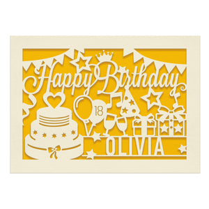 Personalised Birthday Card Laser Paper Cut Greeting Cards - EDSG
