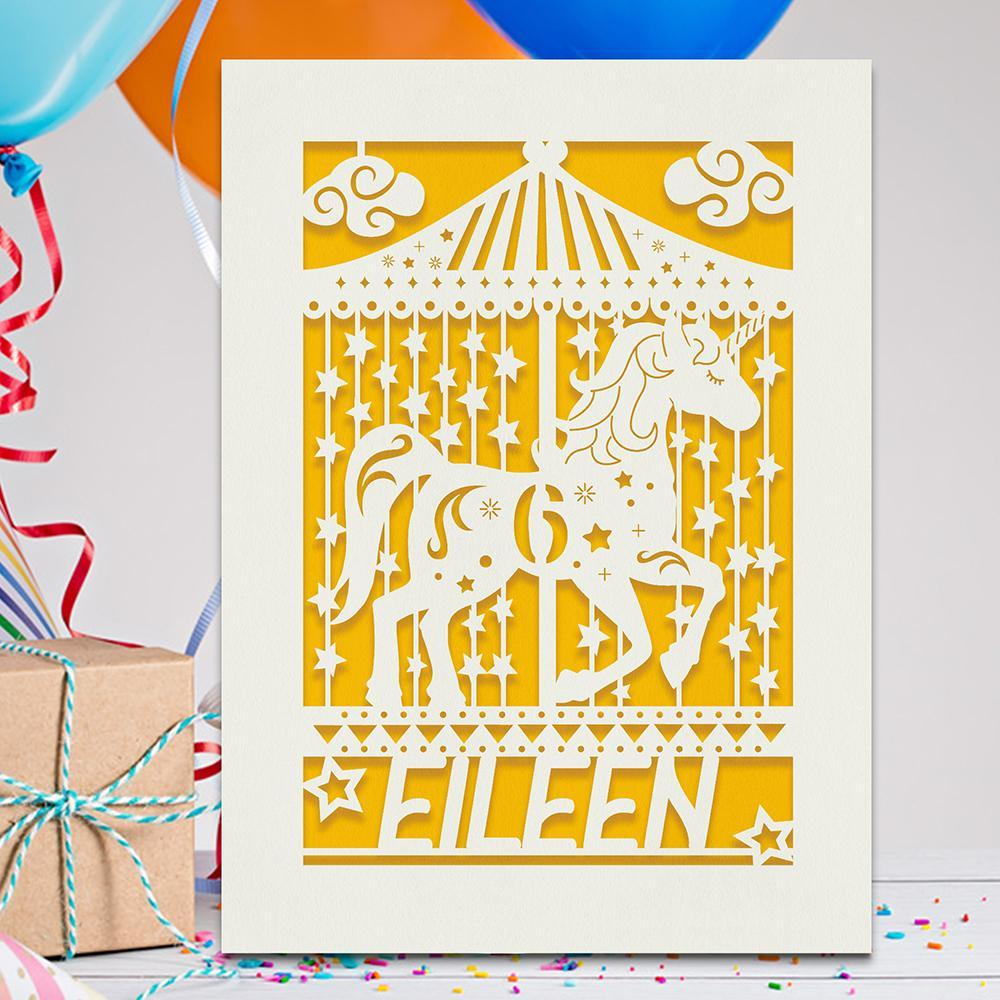 Personalised Birthday Card Carousel Any Name Any Age - EDSG