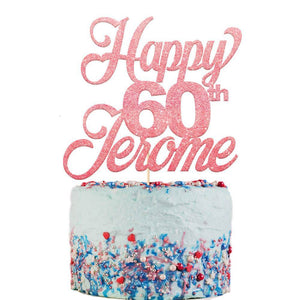 Happy 60th Birthday Cake Topper Any Name Age - EDSG