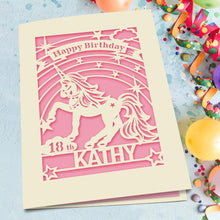 Load image into Gallery viewer, Personalised Birthday Card Unicorn Style - EDSG