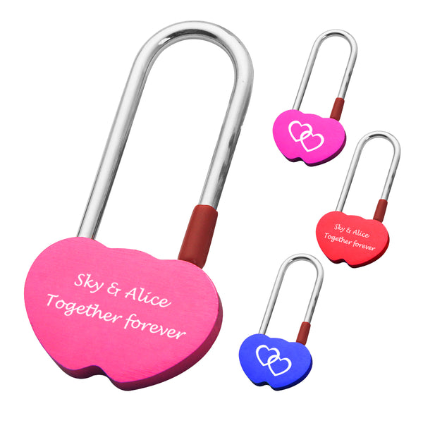 Personalised Engraved Padlock Double Heart Shape Lock with 4 Different Colors - EDSG
