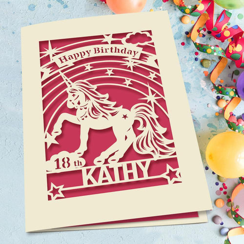 Personalised Birthday Card Unicorn Style - EDSG