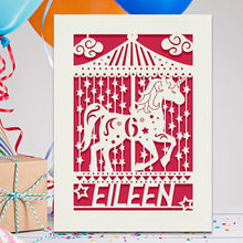 Load image into Gallery viewer, Personalised Birthday Card Carousel Any Name Any Age - EDSG