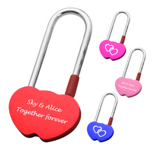 Load image into Gallery viewer, Personalised Engraved Padlock Double Heart Shape Lock with 4 Different Colors - EDSG