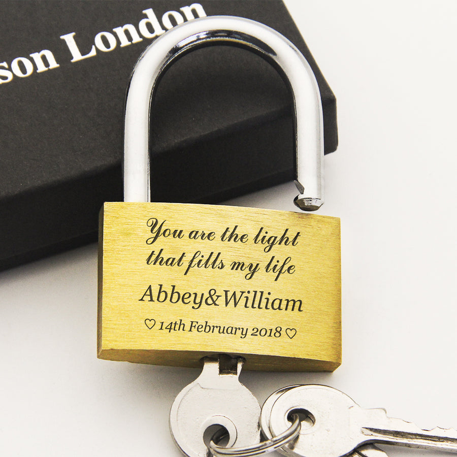 Personalised Engraved Padlock Love Lock Wedding Gift - Text Only - EDSG