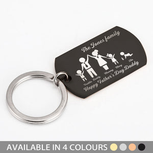 Personalised Army Keyring Family Portrait for Father - EDSG