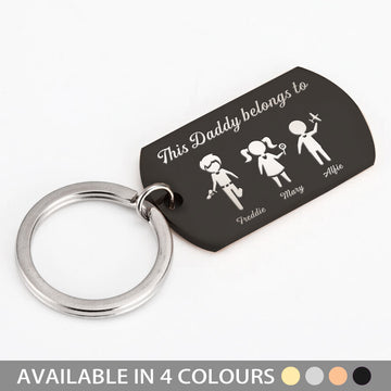 Personalised Keyring Fathers Day Gift - Family Portrait Custom - EDSG