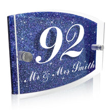 Load image into Gallery viewer, Personalised Glitter Acrylic Door Sign Black / Blue / Silver - EDSG