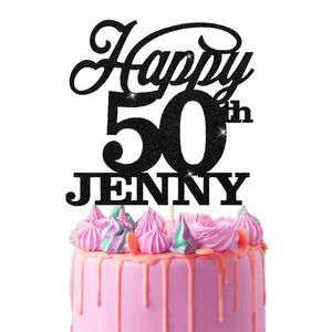 Personalised 50th Birthday Cake Topper Bold Text - EDSG