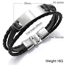 Load image into Gallery viewer, Personalised Mens Leather Bracelet Gift for Him