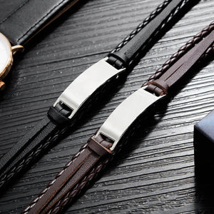 Personalised Mens Leather Bracelet Gift for Him