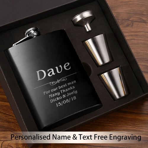 Personalised Hip Flask - Father Of The Groom Wedding Gifts - EDSG