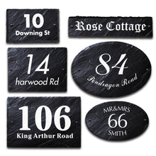 Load image into Gallery viewer, Personalised House Sign Slate Door Number Plaques UV Print