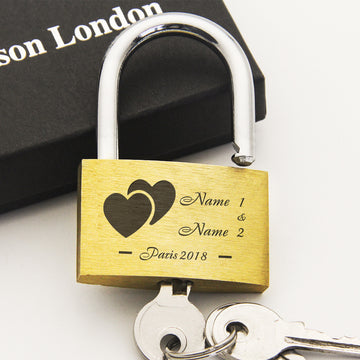 Personalised Engraved Padlock Love Lock Wedding Gift - Love Heart - EDSG