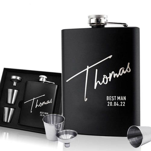 Personalised Hip Flask - Gift for Best Man Groomsman - EDSG