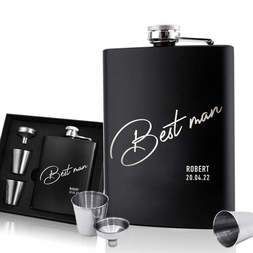 Personalised Hip Flask | Engraved Stainless Steel Whisky Flask 6oz Pocket Flask (Best Man) - EDSG