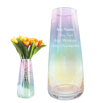 Personalised Engraved Flower Vase Rainbow Plated Glass Vase - EDSG