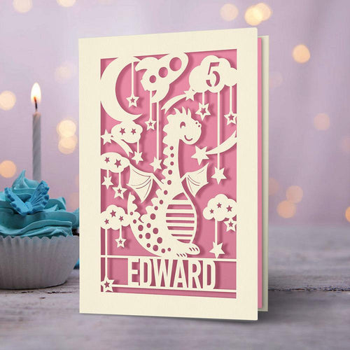 Personalised Birthday Card Dinosaur Style - EDSG
