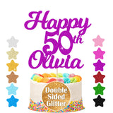 Personalised Cake Topper Birthday Decoration Acrylic Glitter - EDSG