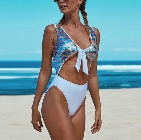 Women's Fashion Sequined One Piece Swimsuit
