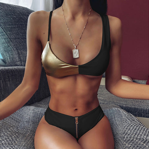 Womens Sexy Colour Block Zipper Swimwear