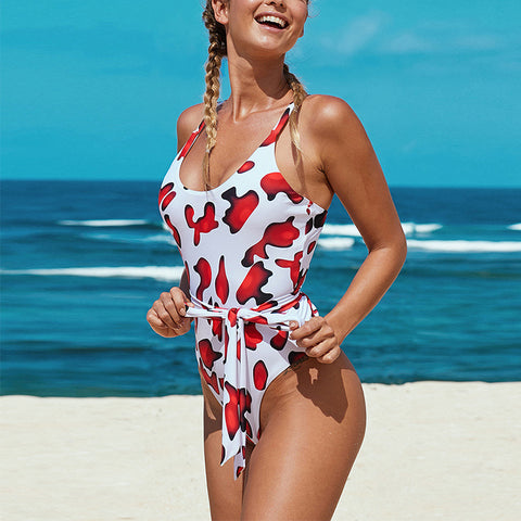 Women's sexy printed one-piece swimsuit
