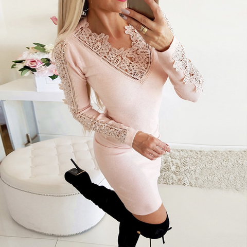 Fashion lace V-neck knitted hip dress