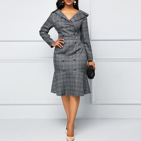 Elegant Lapel Double-Breasted Plaid Ruffle Dress