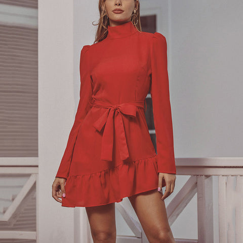 Fashion Christmas red ladies standing collar long sleeve dress