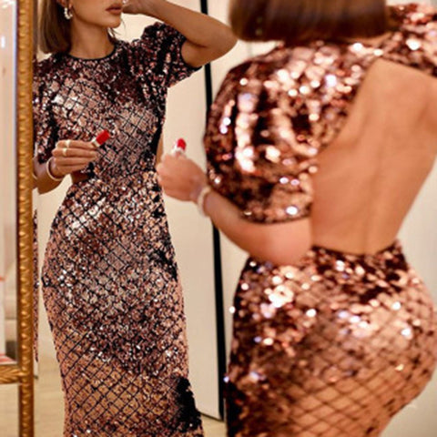 Fashion Round Neck Solid Color Sequined Backless Slim Dress